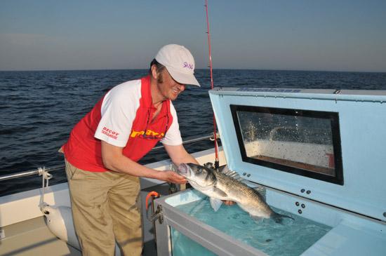 Sorties de p che en bateau belle le en mer en bretagne for Vivier a poisson